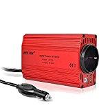 Spannungswandler DC 12V auf AC 230V,300W Wechselrichter,BESTEK KFZ Inverter mit Tüv Zertifiziert und 2 USB Anschlüsse inkl. Kfz Zigarettenanzünder Stecker,Autobatterieclips Rot