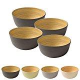 4 Stück Premium Bambusschale schwarz anthrazit rund 450 ml von kaufdichgrün I Bambus Geschirr Schüssel Müslischale Obstschale Holzschale Salatschüssel Dekoschale Suppenschale Servierschüssel