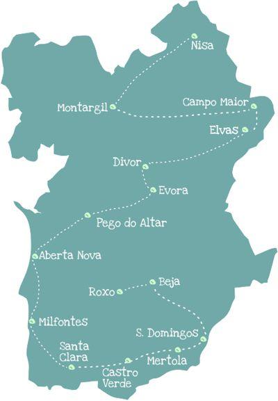 Wohnmobiltour Alentejo Karte