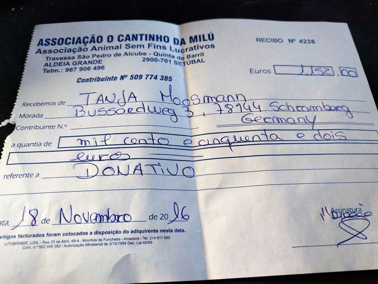 Spendenbescheinigung von Milu - die vom Schlatthof liegt noch nicht vor