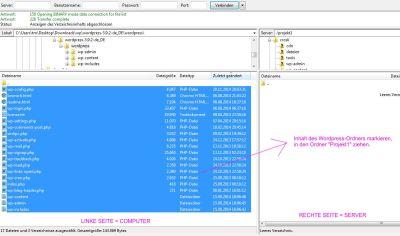 Wordpress-Dateien auf den Server übertragen.